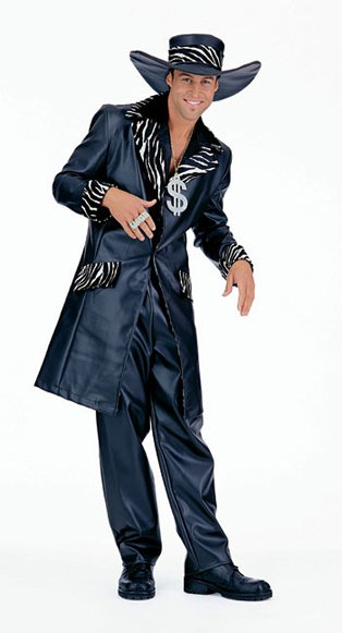 Mac Daddy Pimp Suit with Three Quarter Length Black Drape Large